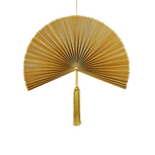 Load image into Gallery viewer, Wallhanging Bamboo Gold Fan Small