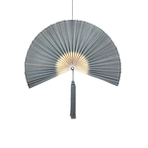 Wallhanging Bamboo Tie-Dye Grey Fan