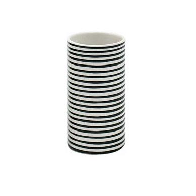 Ceramic Short Black and White Striped Vase