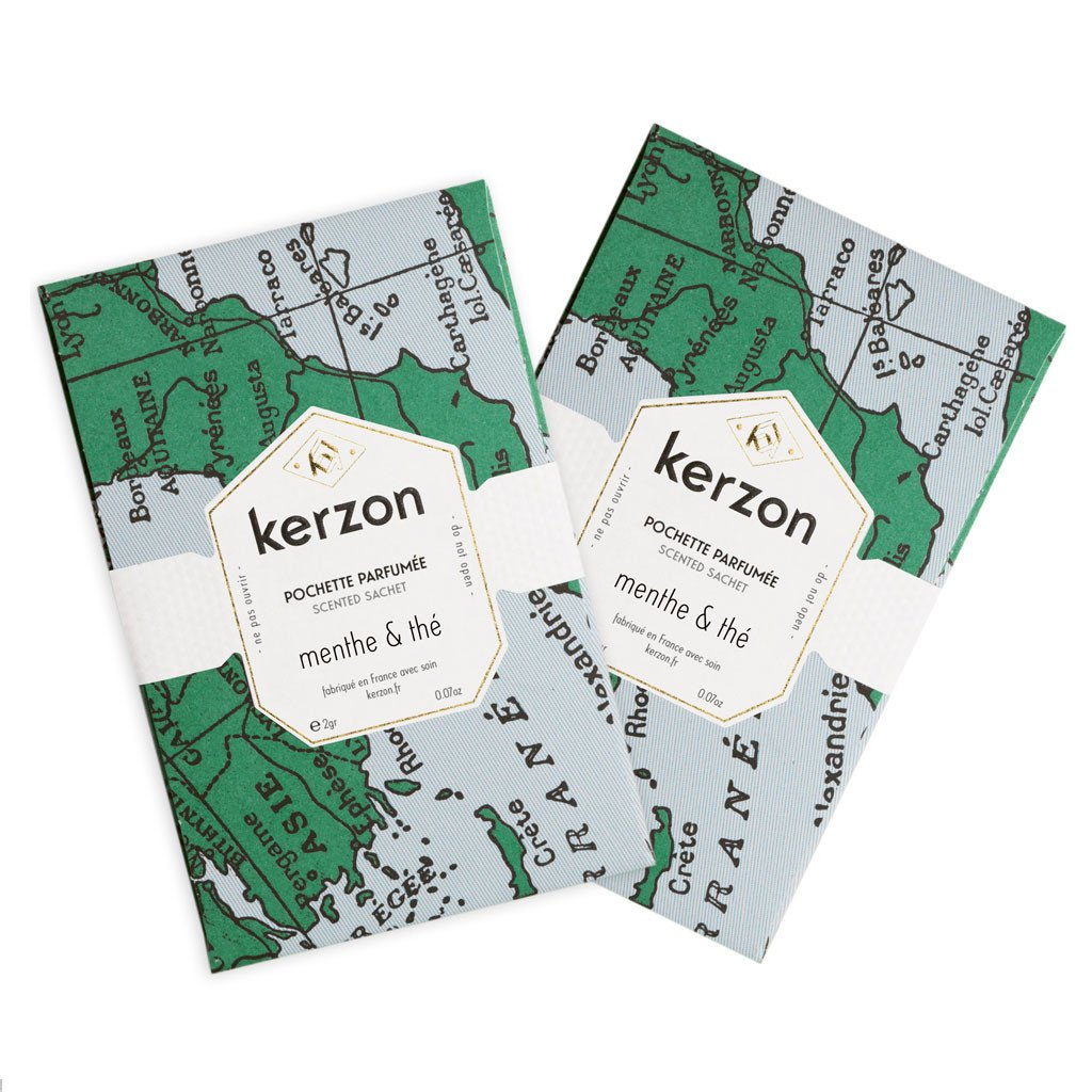Two Mint & Tea Scented Sachets By Kerzon