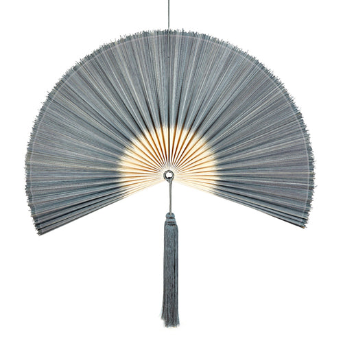 Wallhanging Bamboo Tie-Dye Grey Large Fan