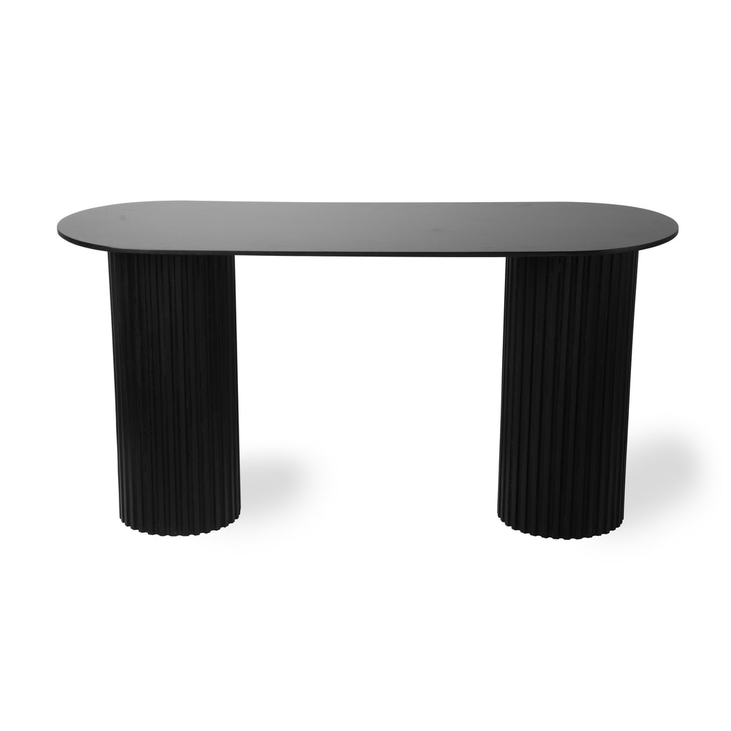 Black Pillar Side Table Oval