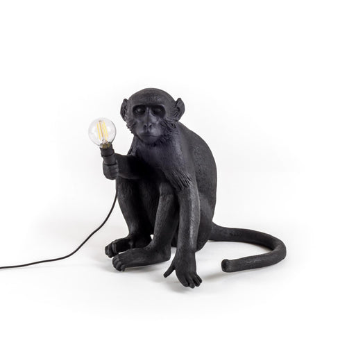 The Monkey Lamp Sitting Outdoors Version - Black