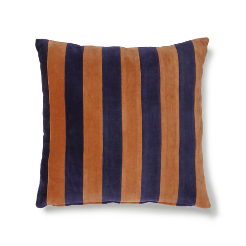 Striped Cushion Velvet - Blue/Orange
