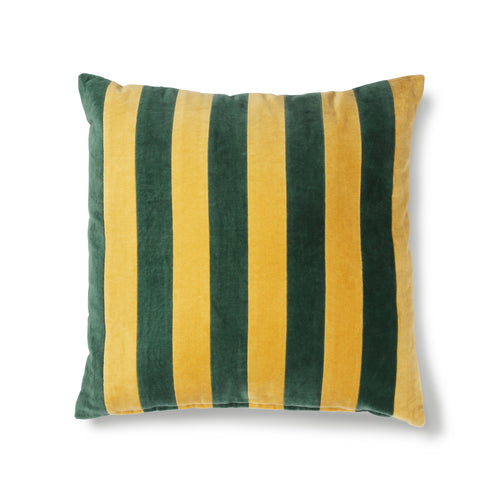 Striped Cushion Velvet - Green/Mustard