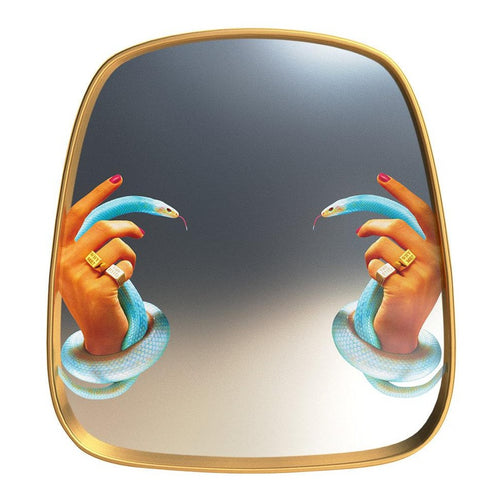 TOILETPAPER Hands With Snakes Wooden Mirror