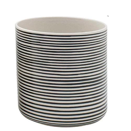 Ceramic Black and White Striped Planter