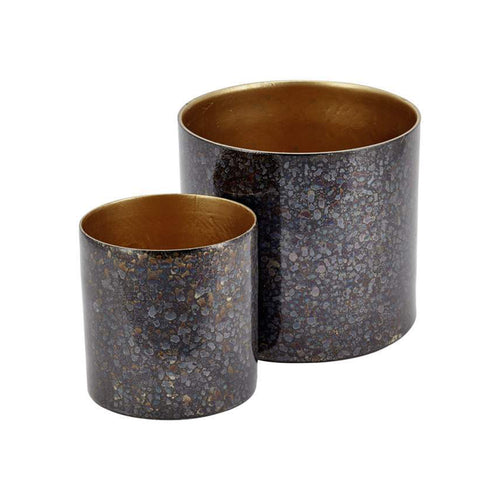 Set Of Two Metallic Plant Pots