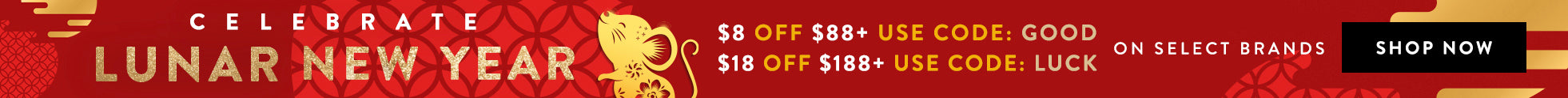 Lucky Lunar New Year - $8 OFF $88+ or $18 OFF $188+