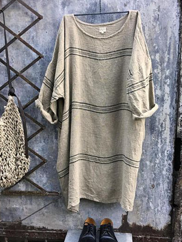 Plus Size Vintage Casual Crew Neck 3/4 Sleeve Stripes Dresses