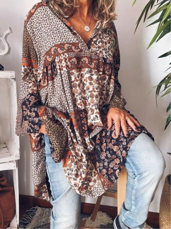 Holiday Tribal Printed Long Sleeve V-neck Dress