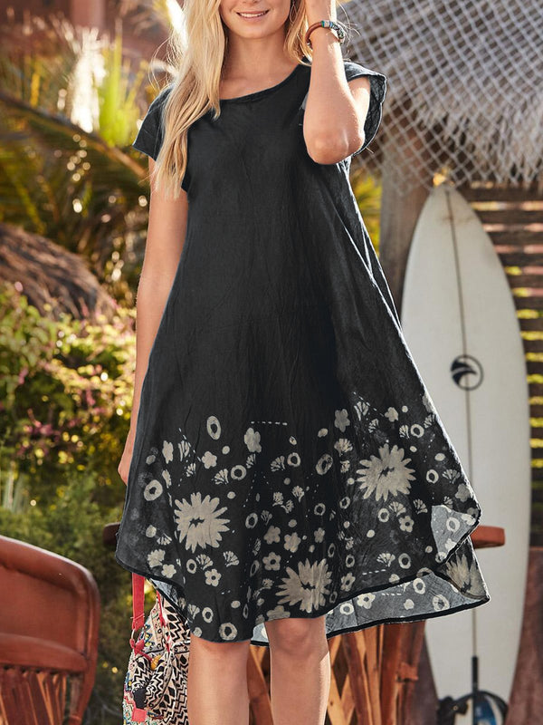 Plus Size Women Short Sleeve U-Neck Vintage Floral Casual Mini Dresses