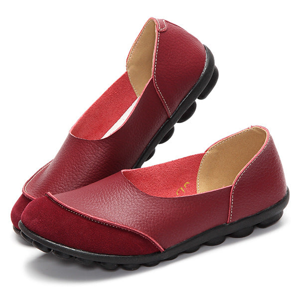 Women Large Size Split Leather Panel Flats