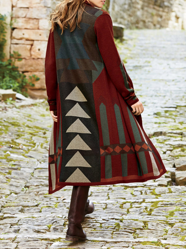 Red Geometric Wool Blend Vintage Outerwear