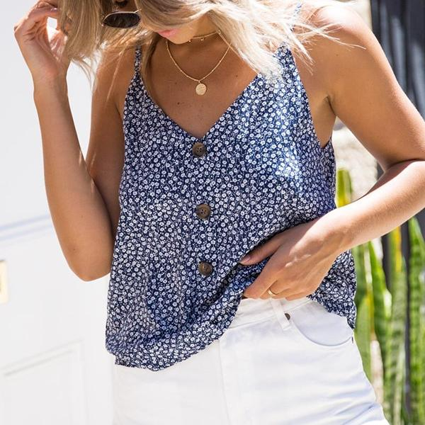Casual V Neck Floral Sleeveless Tops