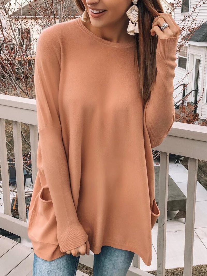 Plus Size Casual Solid Long Sleeve  Pockets Crew Neck Tops