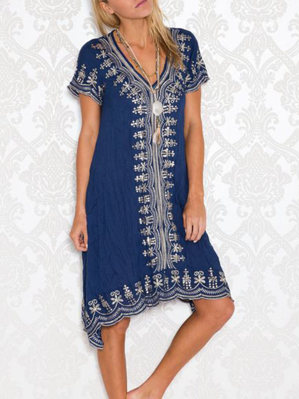 Blue Patchwork V Neck Short Sleeve Dresses