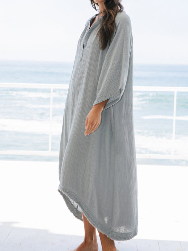 Casual Plus Size V Neck Raglan Half Sleeve Maxi Dresses