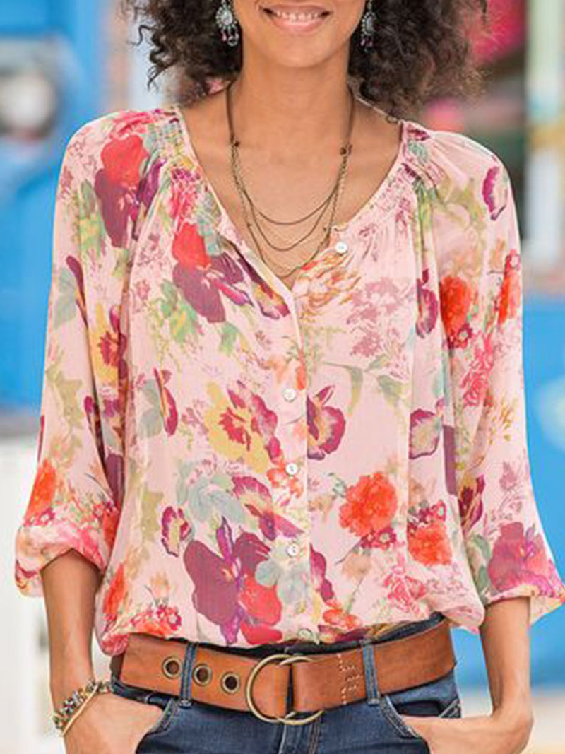 V Neck Patchwork Long Sleeve Shirts & Tops