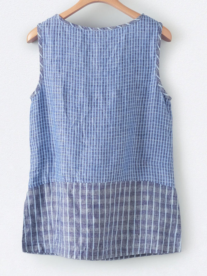 Cotton-Blend Buttoned Sleeveless V Neck Shirts & Tops