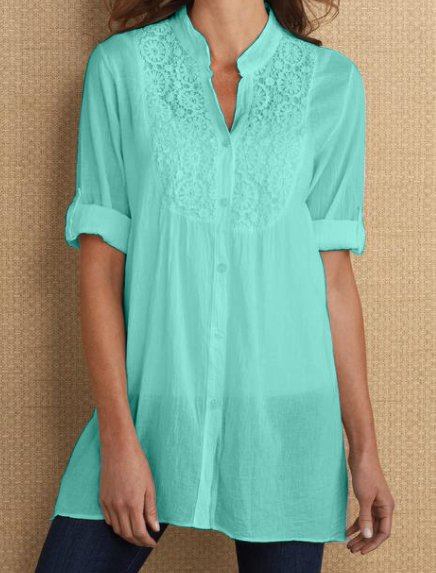 Elegant Short  Sleeve Cotton Blouses