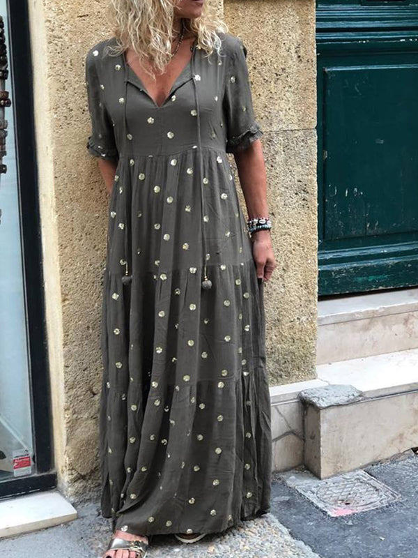V Neck Women Casual Polka Dots Maxi Dresses