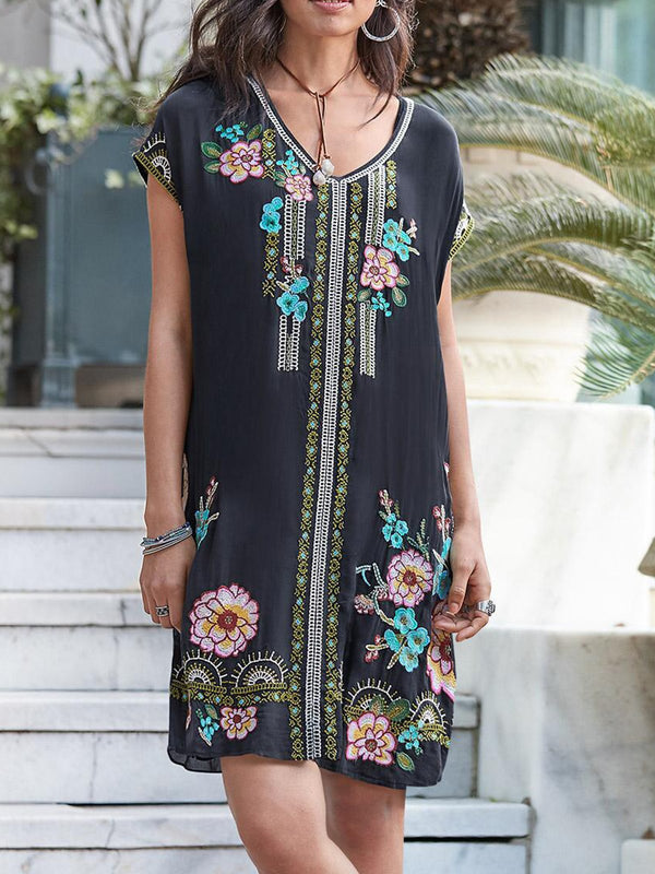 Black Embroidered Short Sleeve V Neck Dresses