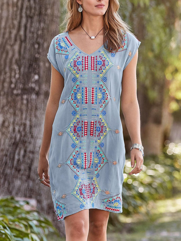 Midi Dresses Floral Embroidered Shift Cotton-Blend Short Sleeve Crew Neck Plain Light Blue Boho Casual Holiday
