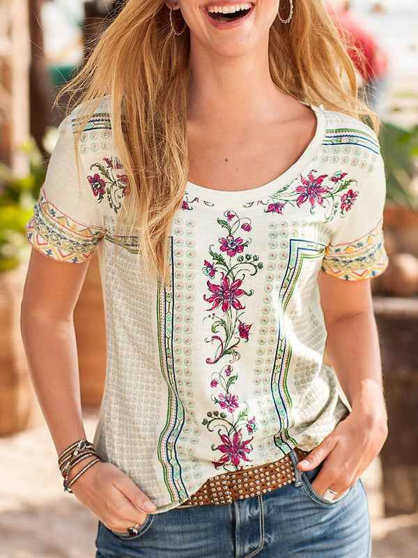 Floral-Print Casual Short Sleeve Shirts & Tops