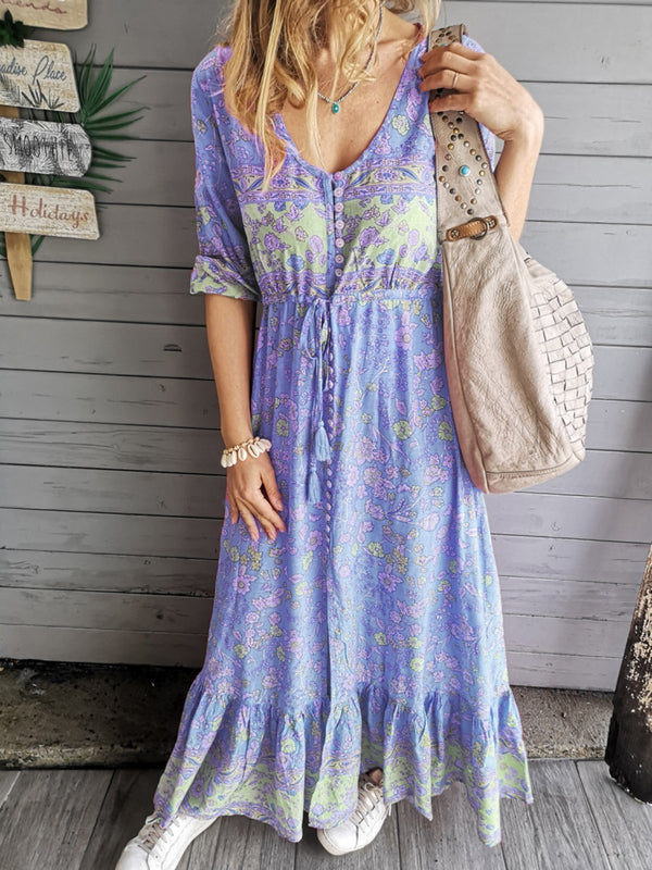 V Neck Paneled Floral Boho Going Out Tribal Dresses