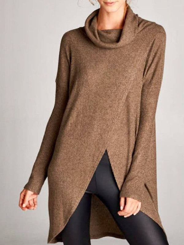 Khaki Slit Asymmetrical Knitted Casual Shirts & Tops