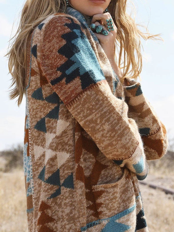 Brown Wool Blend Casual Outerwear