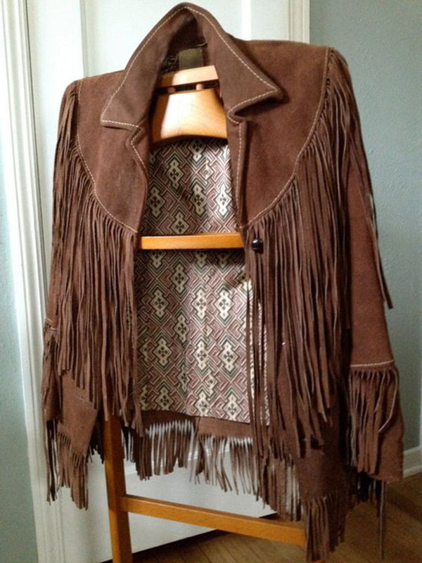 Coffee Fringed Shift Long Sleeve Outerwear