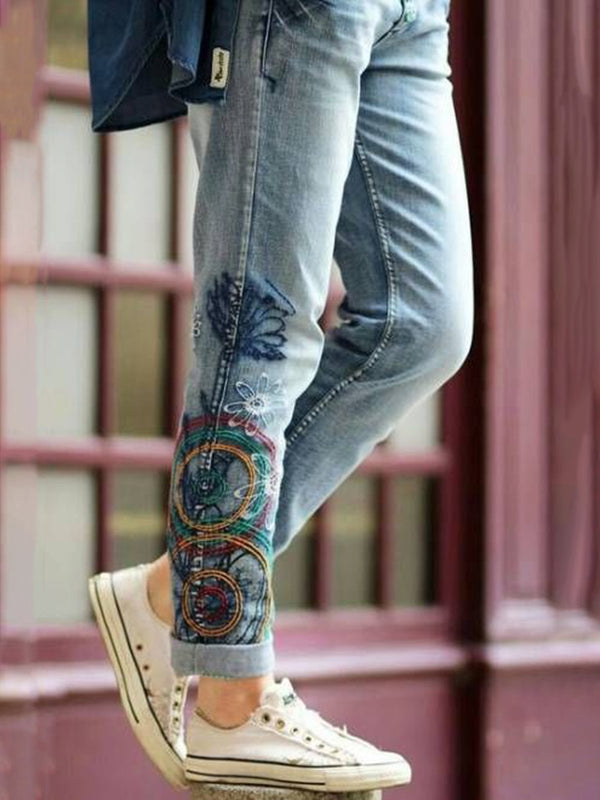Casual Embroidery Tribal Pants