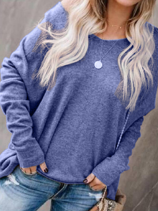 Casual Round Neck Knitted Shirts & Tops