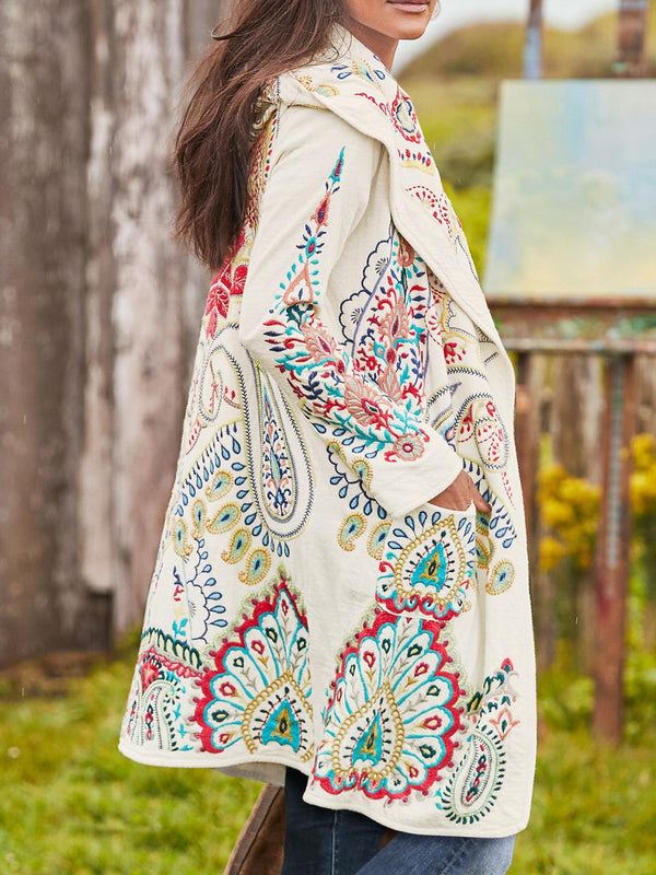 White Boho Cotton-Blend Outerwear