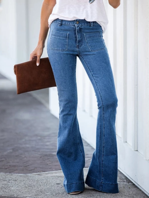 Blue Casual Denim plus size Pants