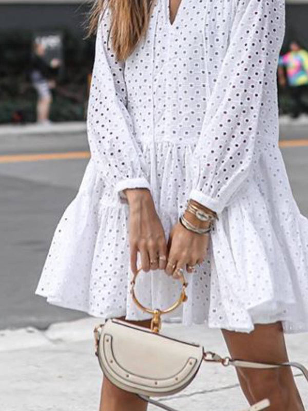 Women White Cotton Balloon Sleeve Dresses
