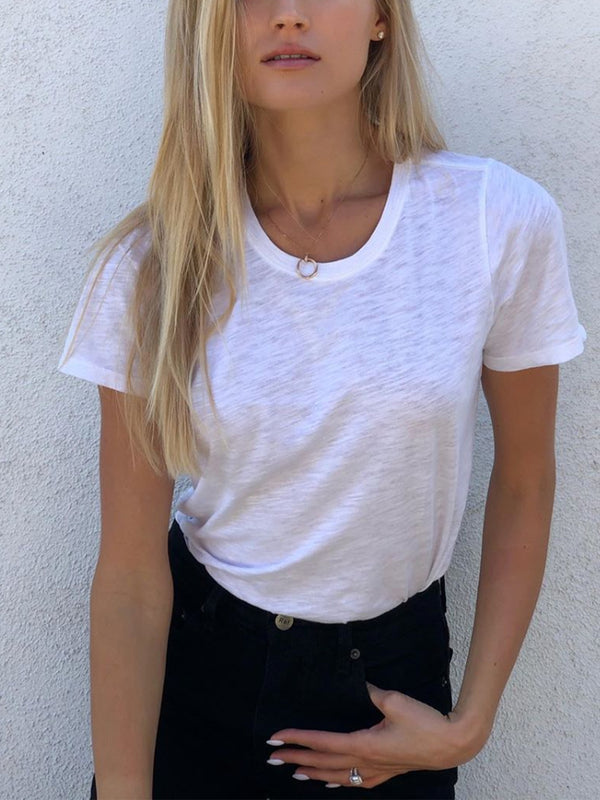 Casual Simple Basic Solid Color Short Sleeve T-Shirt