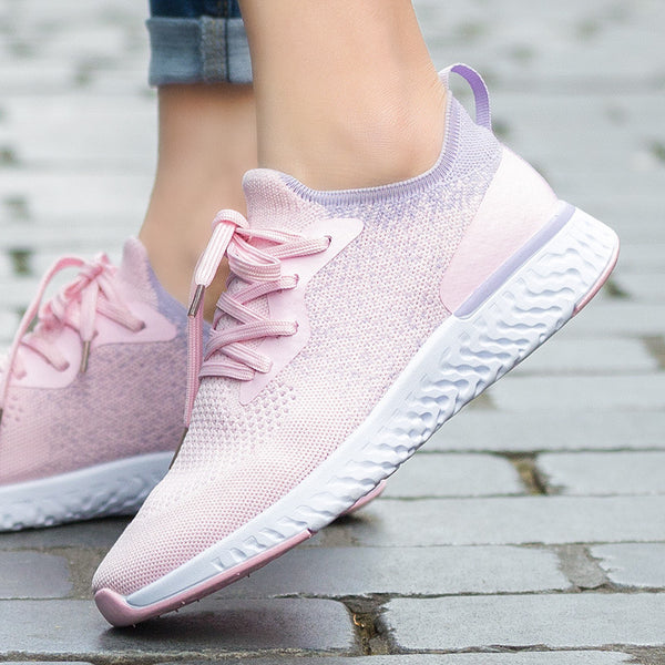 New Breathable Flyknit Fabric All Season Lace-Up Sneakers