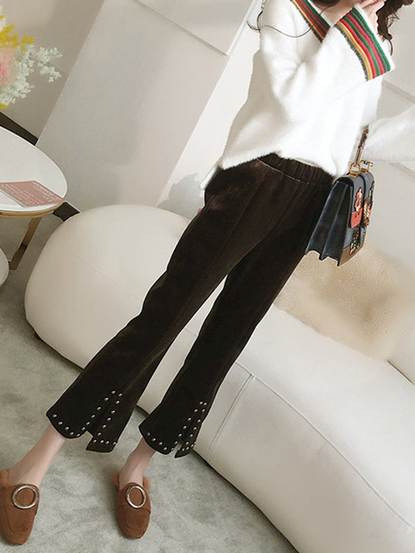 Women's Retro Velvet Bell Pants Slit Front Studded Wide Leg Pants