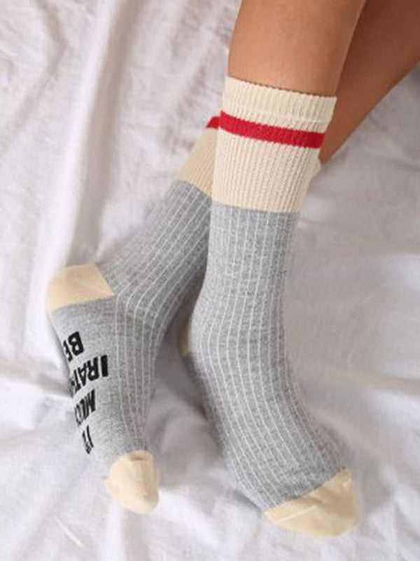 Letter Cotton-blend Thermal Casual Sock