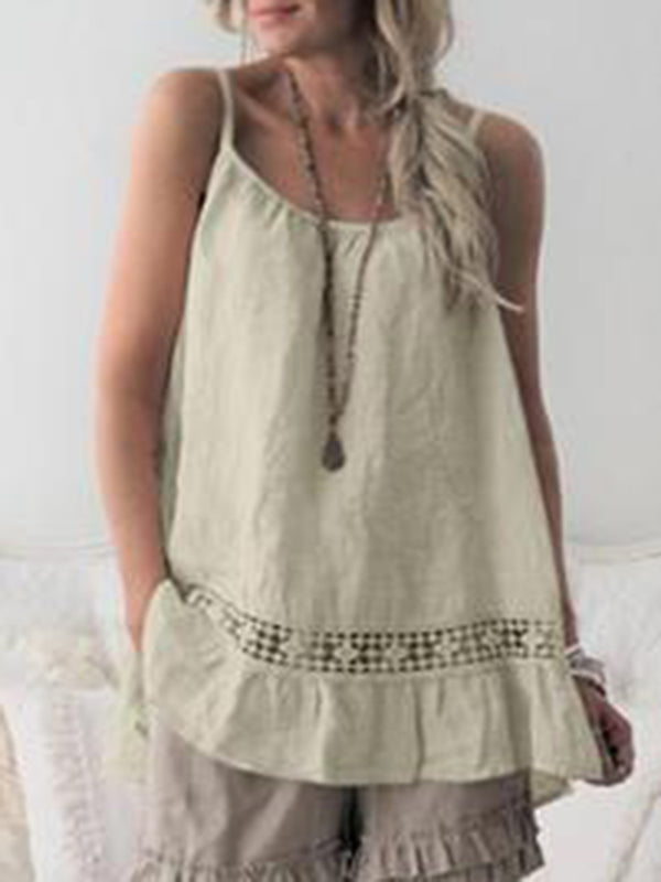 Plain Sleeveless Boho Tops