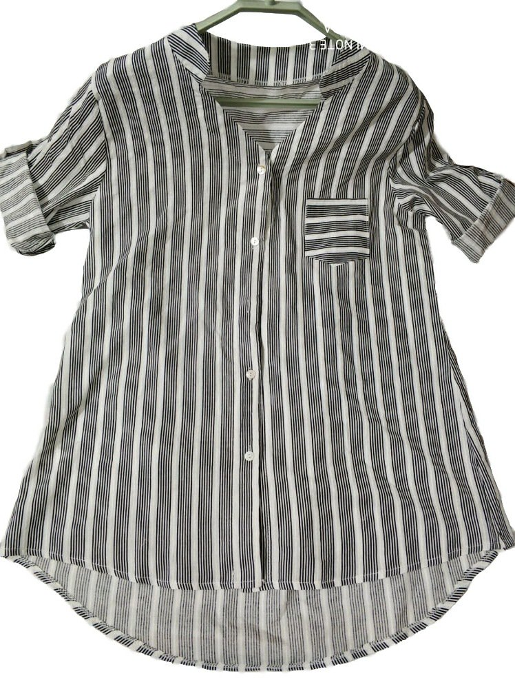 Casual 3/4 Sleeve Stripes Linen Blouse
