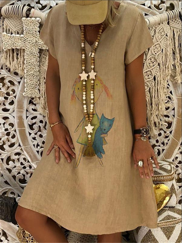 Short Sleeve Casual V Neck Dresses