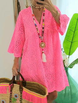 Plus Size Cutout Vacation Beach Women Summer Mini Dresses