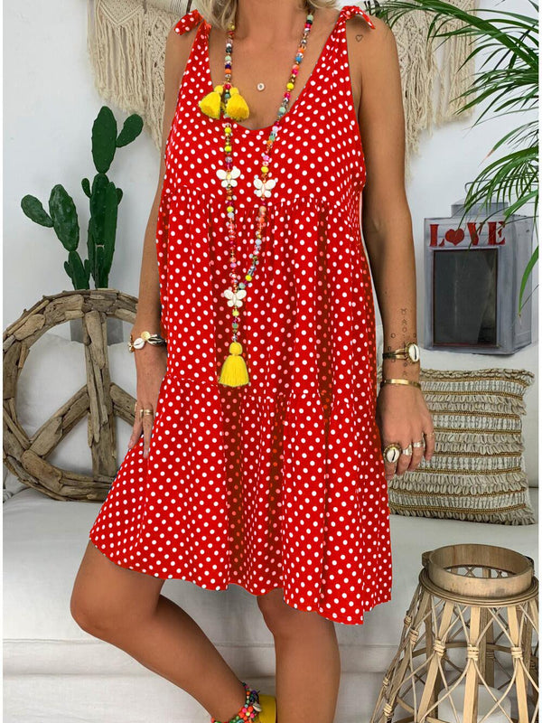 U-Neck Polka Dots Casual Dresses