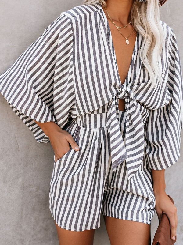 Gray Printed Stripes Plunging Neck 3/4 Sleeve One-Pieces
