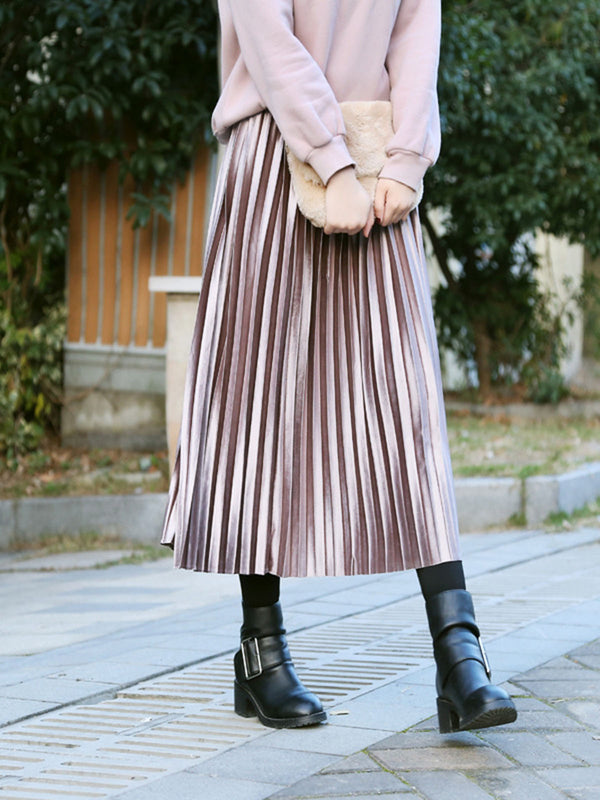 Fall Winter Dress Fashion Solid Pleated A-line Casual Skirt