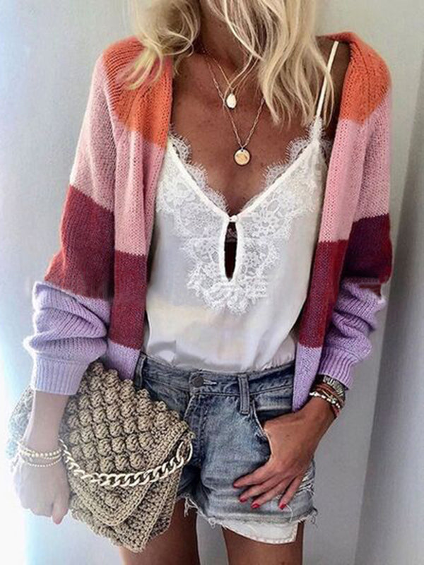 Color-Block Casual Striped Knitted Cardigan